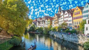 Silhoutte von Tübingen mit Outlook-Symbolen