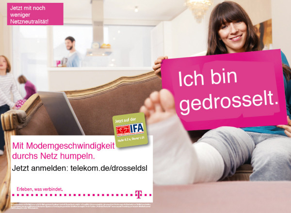 Telekom-Werbung - DSL-Drosselung und Flatrate-Einschränkung