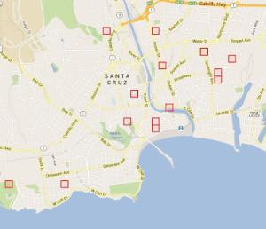 Mit dieser Karte sollen Polizeien und Nachbarschaftsgruppen in Santa Cruz heute