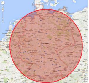 Abgeschnorcheltes Gebiet im Falle eines Einsatzes über Nordhessen/ Thüringen