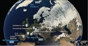 Gegenwärtige Auswertestationen von Copernicus (GMES)
