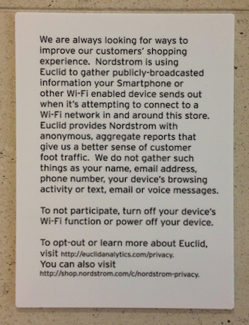 Hinweis auf Smartphone-Tracking bei Nordstrom