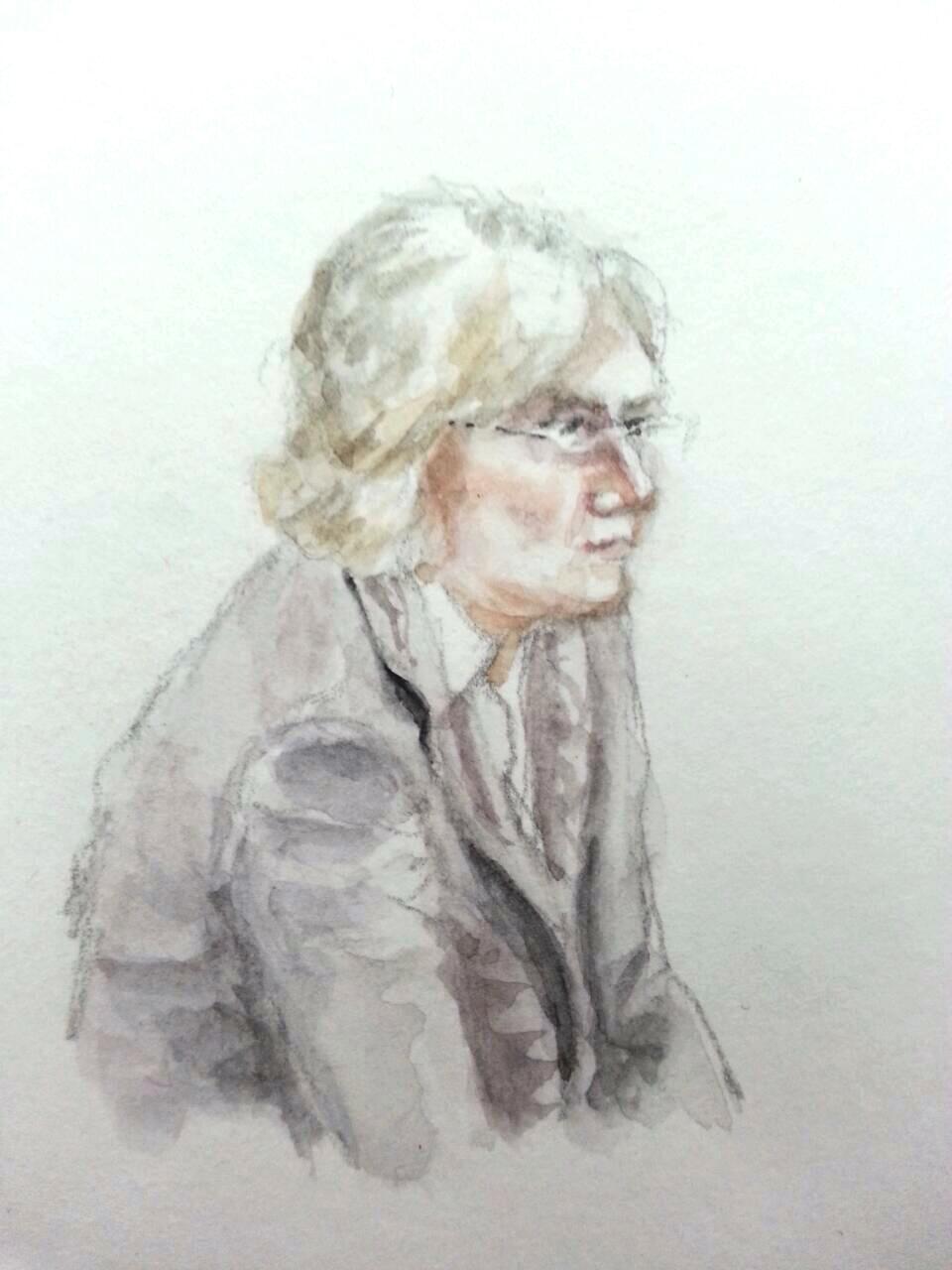 Zeugin Renate Leistner-Rocca bei ihrer Anhörung. Zeichnung: Stella Schiffczyk.
